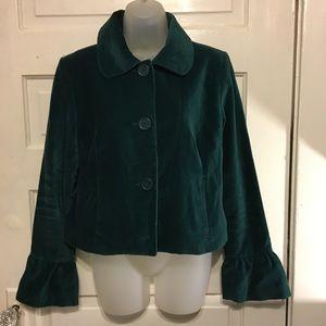 """Black Rivet Med Green """"Velvet"""" Jacket Bell Sleeves"""